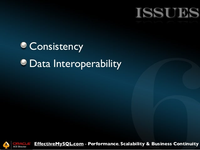 ISSUES Consistency Data Interoperability  EffectiveMySQL.com - Performance, Scalability & Business Continuity