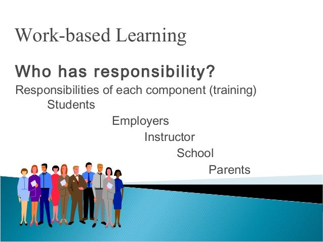 Who has responsibility? Responsibilities of each component (training) Students Employers Instructor School Parents Work-ba...