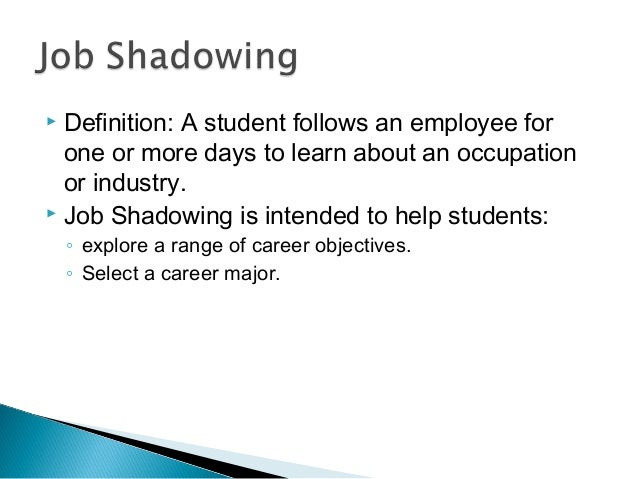  Definition: A student follows an employee for one or more days to learn about an occupation or industry.  Job Shadowing...