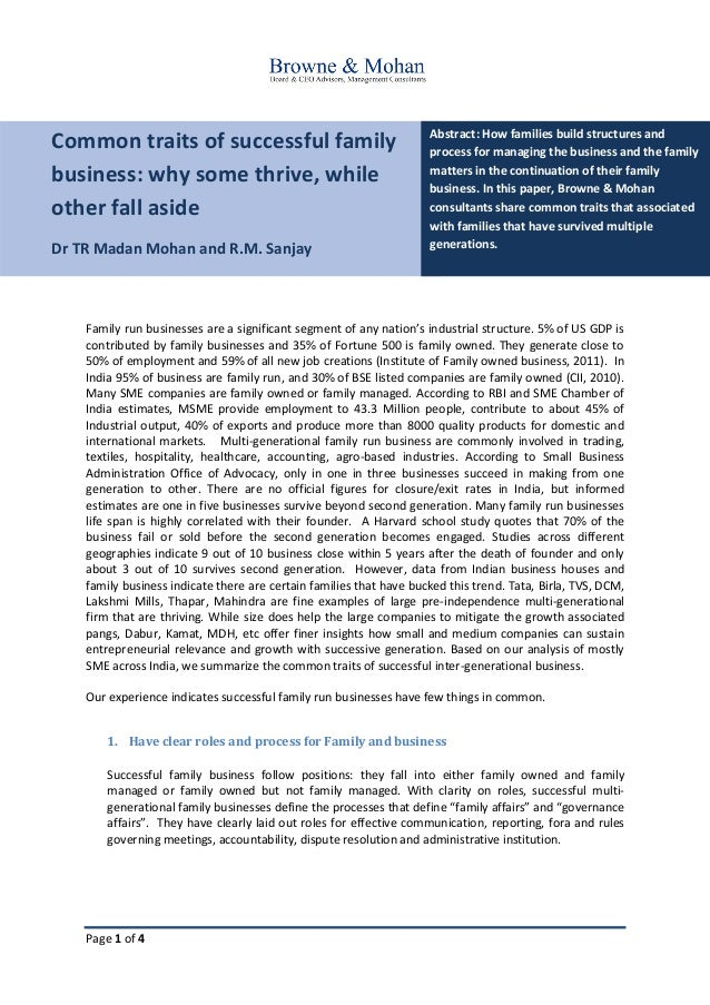 Page 1 of 4 Common traits of successful family business: why some thrive, while other fall aside Dr TR Madan Mohan and R.M...