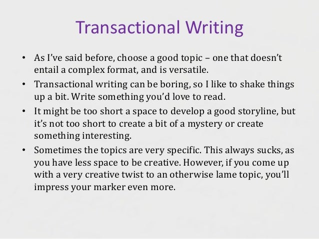 Transactional Writing - English