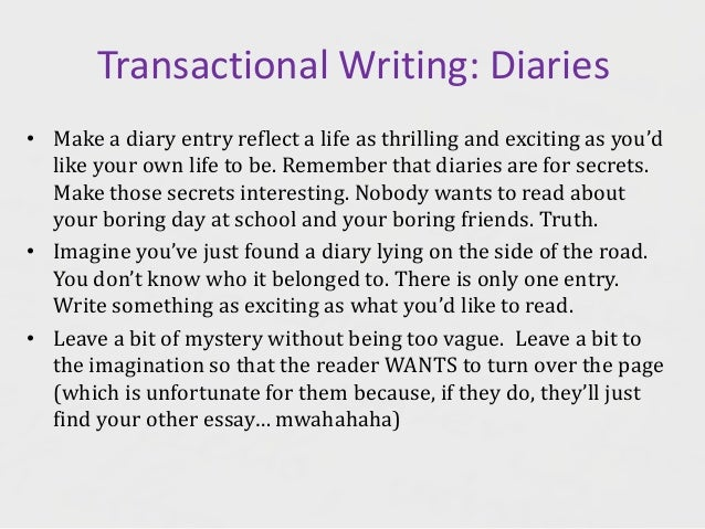formal diary entry A diary entry is introspective in nature rather than just detailing an event or an activity, it presents the thoughts and reactions of the writer.