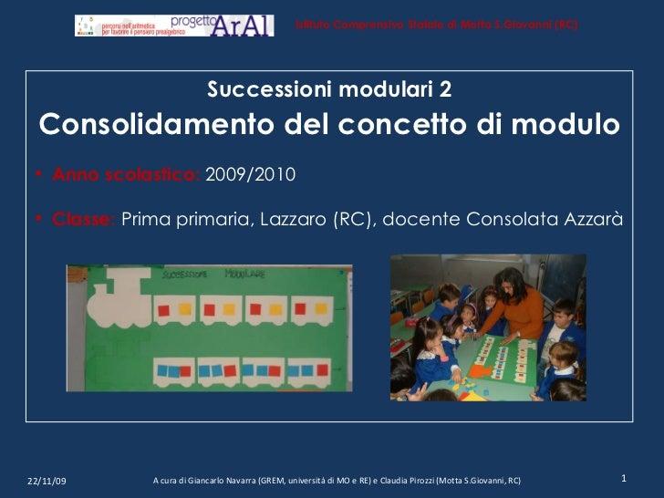 22/11/09 A cura di Giancarlo Navarra (GREM, università di MO e RE) e Claudia Pirozzi (Motta S.Giovanni, RC) <ul><li>Succes...