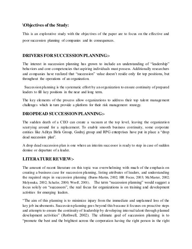 succession planning literature review