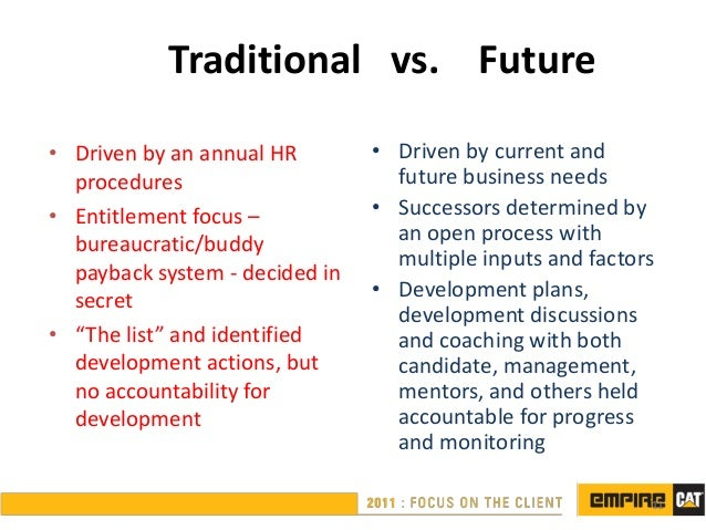 Traditional vs. Future• Driven by an annual HR        • Driven by current and  procedures                      future busi...