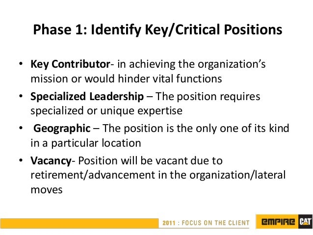 Phase 1: Identify Key/Critical Positions• Key Contributor- in achieving the organization's  mission or would hinder vital ...