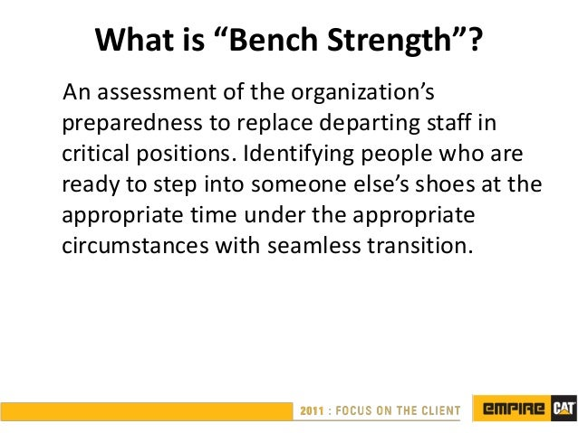 """What is """"Bench Strength""""?An assessment of the organization'spreparedness to replace departing staff incritical positions. ..."""