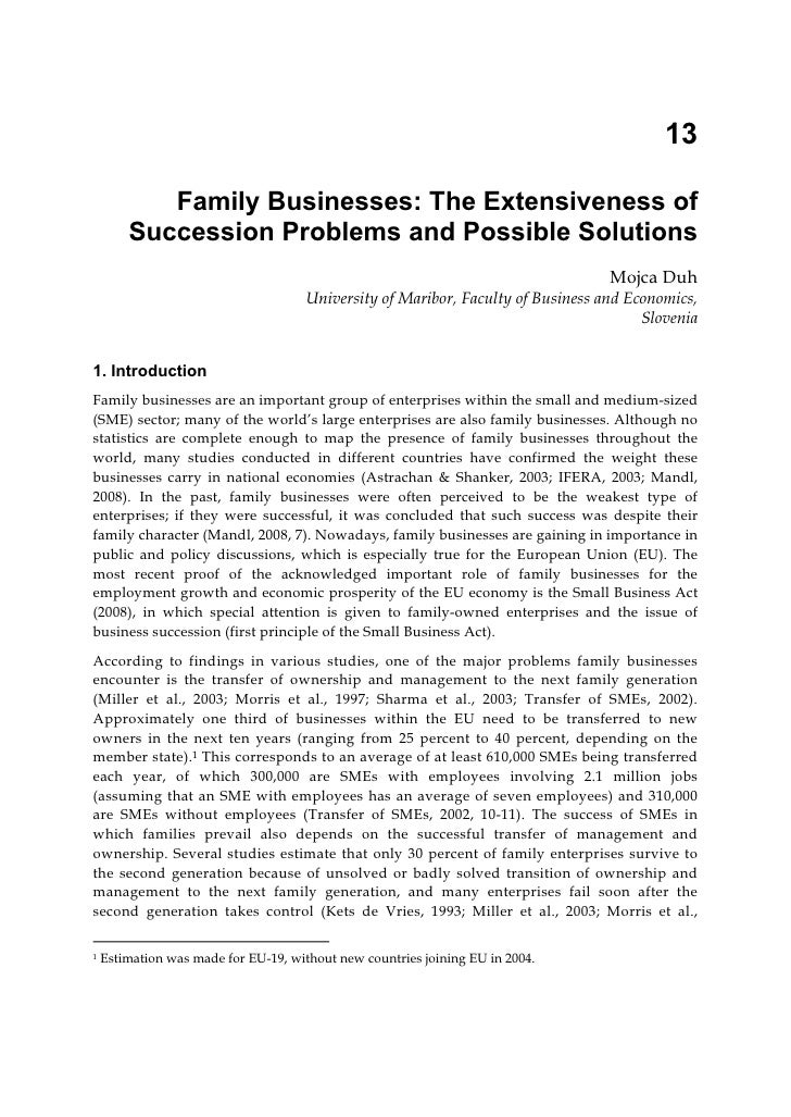 13           Family Businesses: The Extensiveness of        Succession Problems and Possible Solutions                    ...