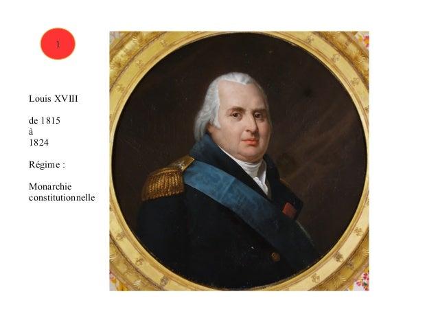 1  Louis XVIII  de 1815  à  1824  Régime :  Monarchie  constitutionnelle