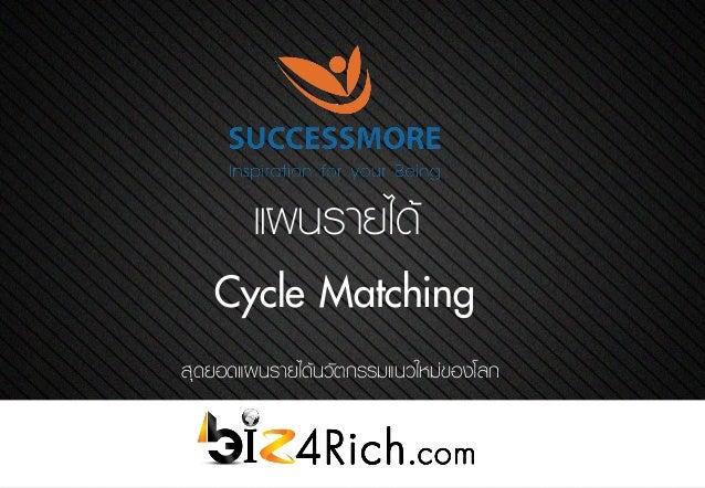แผนรายได้ Cycle Matching สุดยอดแผนรายได้นวัตกรรมแนวใหม่ของโลก
