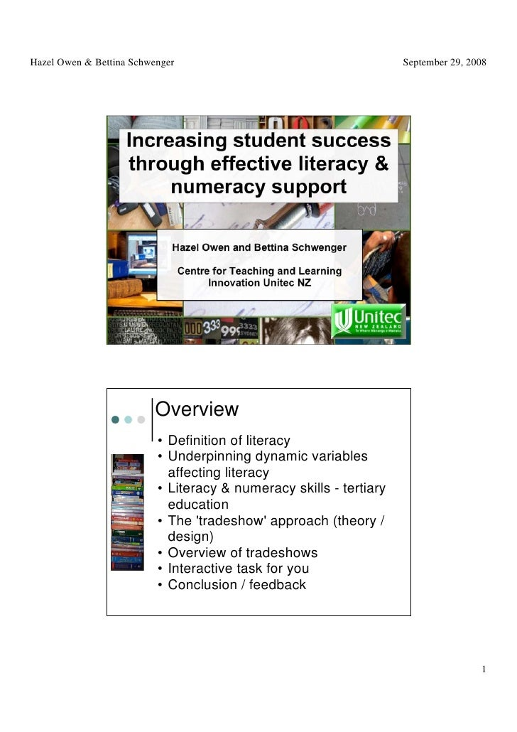 Using literacy tools and strategies as a foundation to enhance students' learning and study success   Hazel Owen and Betti...