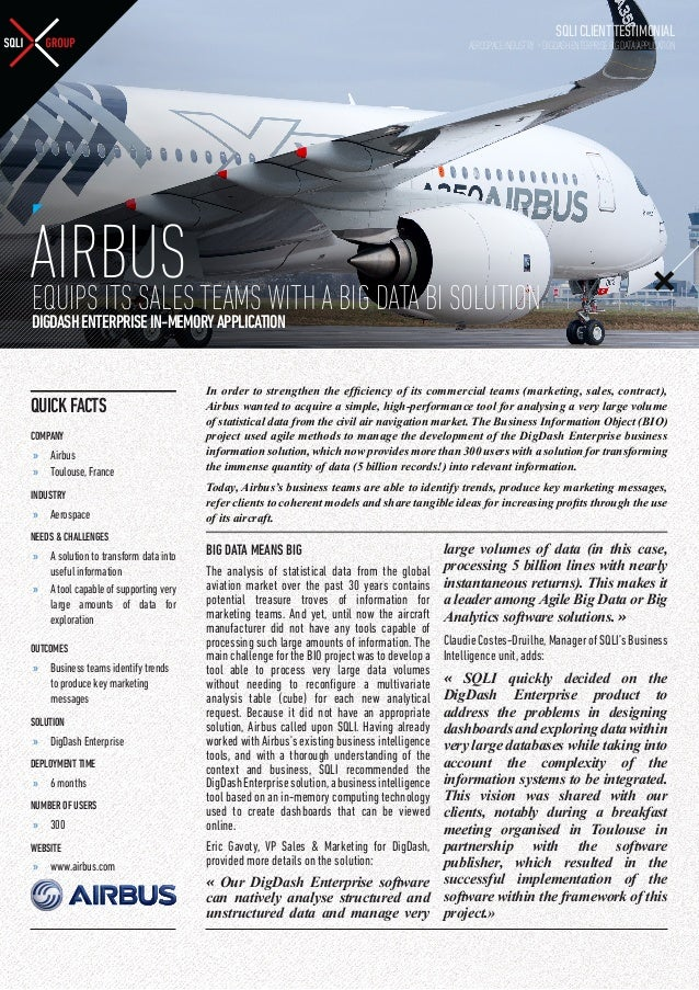 SQLI CLIENT TESTIMONIAL  AEROSPACE INDUSTRY - DIGDASH ENTERPRISE BIG DATA APPLICATION  AIRBUS TEAMS WITH A BIG DATA BI SOL...