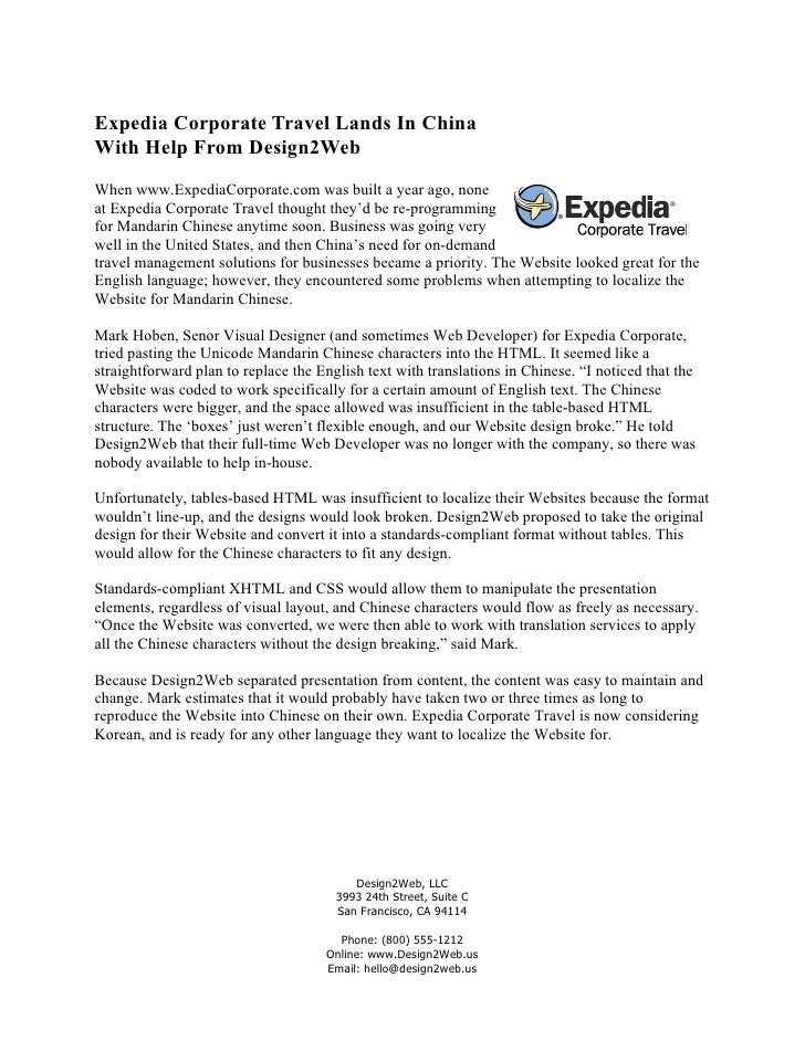 Expedia Corporate Travel Lands In China With Help From Design2Web When www.ExpediaCorporate.com was built a year ago, none...