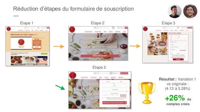 Réduction d'étapes du formulaire de souscription ― Etape 2 Etape 3Etape 1 Etape 2 Résultat : Variation 1 vs originale : (4...