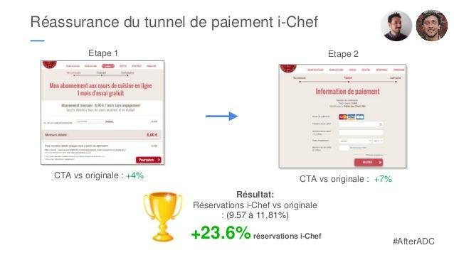 Réassurance du tunnel de paiement i-Chef ― CTA vs originale : +4% CTA vs originale : +7% Etape 1 Etape 2 Résultat: Réserva...