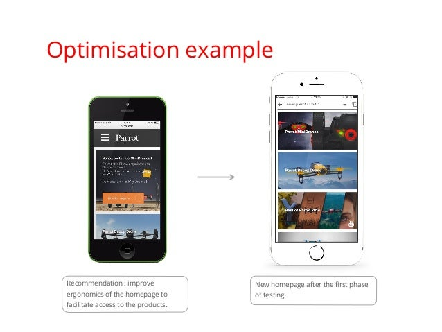 Optimisation example Recommendation : improve ergonomics of the homepage to facilitate access to the products. New homepag...