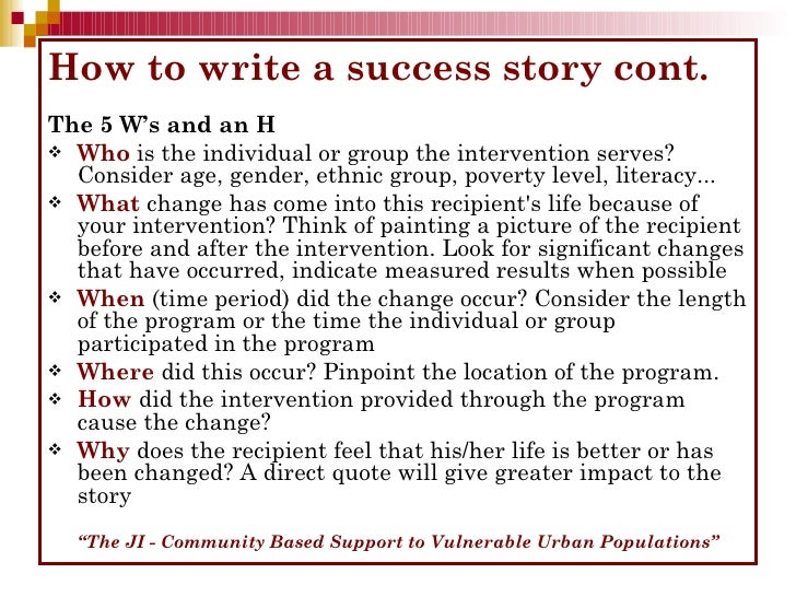 How To Write A Success Story