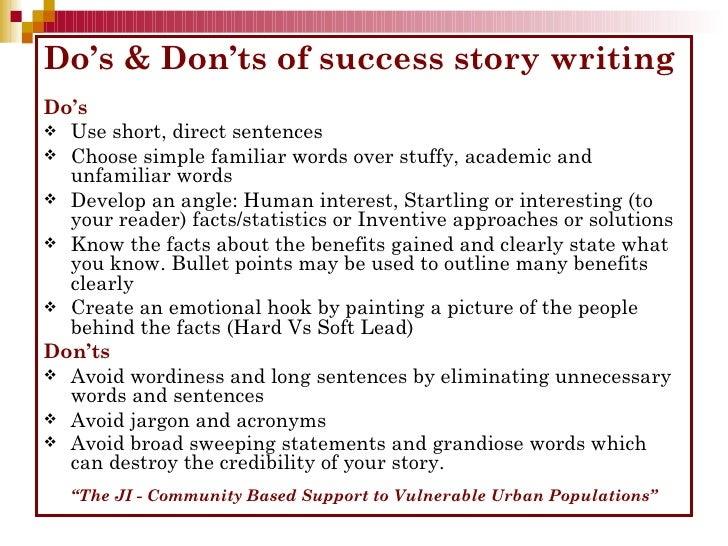 how to write a success story ppt background