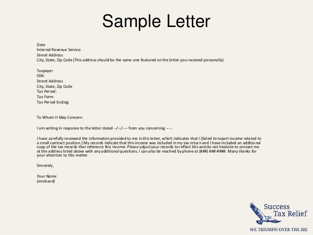 Sample Letter Date Internal Revenue Service