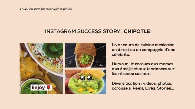 À CHAQUE PLATEFORME SES BONNES PRATIQUES INSTAGRAM SUCCESS STORY : CHIPOTLE Live : cours de cuisine mexicaine en direct ou...