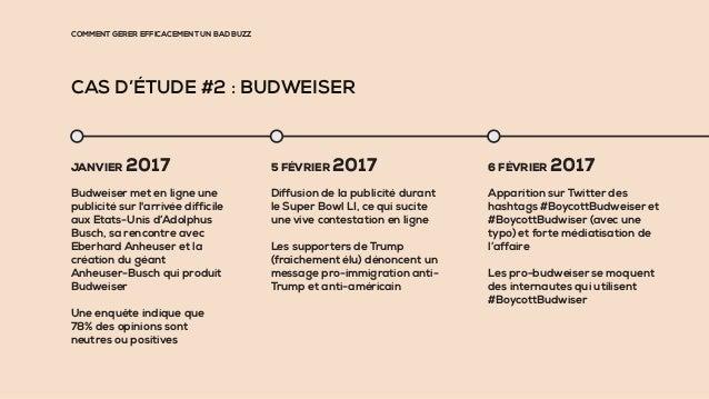 COMMENT GÉRER EFFICACEMENT UN BAD BUZZ CAS D'ÉTUDE #2 : BUDWEISER JANVIER 2017 Budweiser met en ligne une publicité sur l'...