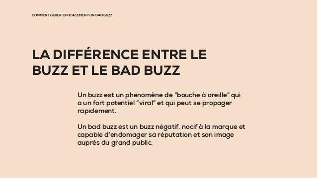 """LA DIFFÉRENCE ENTRE LE BUZZ ET LE BAD BUZZ Un buzz est un phénomène de """"bouche à oreille"""" qui a un fort potentiel """"viral"""" ..."""