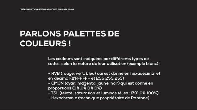 CRÉATION ET CHARTE GRAPHIQUES EN MARKETING PARLONS PALETTES DE COULEURS ! Les couleurs sont indiquées par différents types...