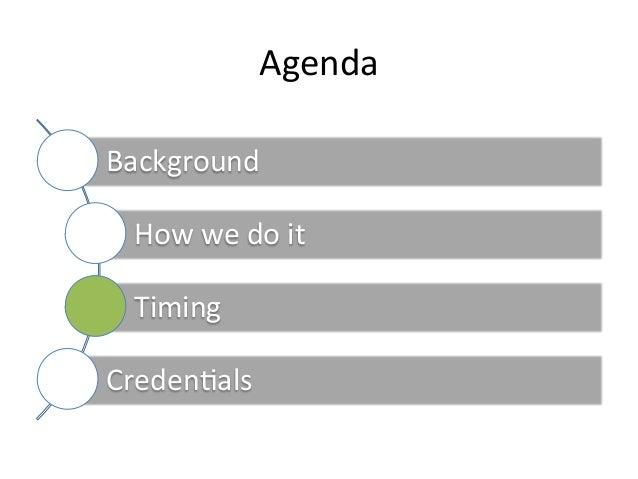 Agenda   Background     How  we  do  it     Timing     Creden6als