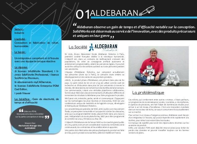 01ALDEBARAN  Secteur : Industrie L'activité : Conception et fabrication de robots humanoïdes Le besoin : Un intégrateur co...
