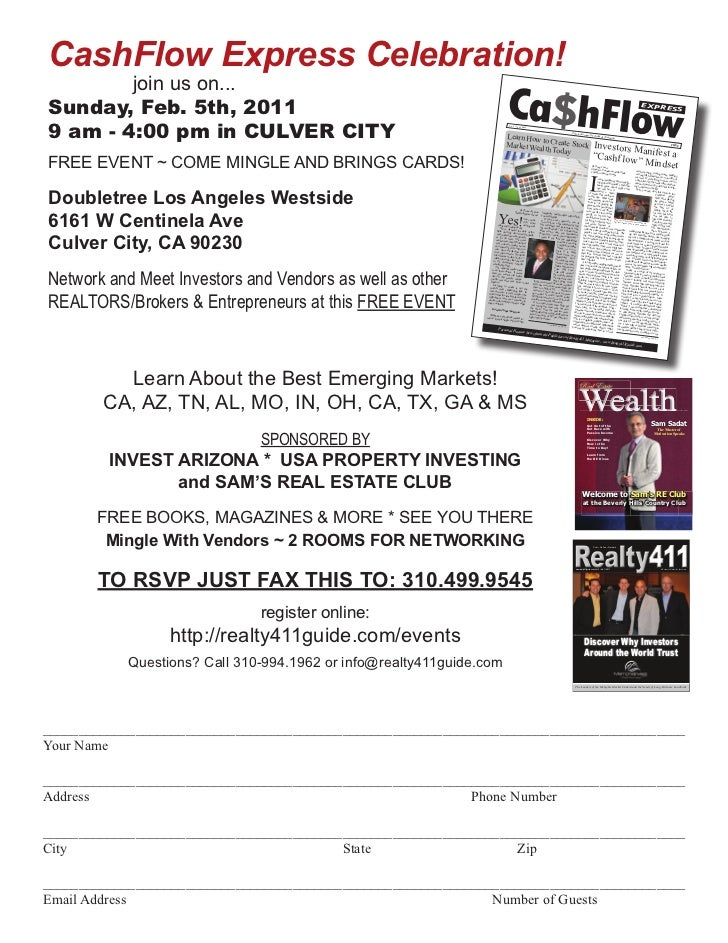 CashFlow Express Celebration!        join us on...Sunday, Feb. 5th, 20119 am - 4:00 pm in CULVER CITY                     ...