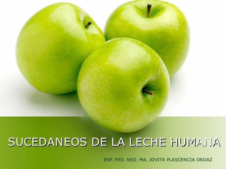SUCEDANEOS DE LA LECHE HUMANA             ENF. PED. NEO. MA. JOVITA PLASCENCIA ORDAZ