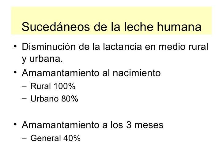 Sucedáneos de la leche humana <ul><li>Disminución de la lactancia en medio rural y urbana. </li></ul><ul><li>Amamantamient...