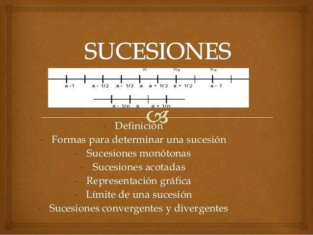 - Definición- Formas para determinar una sucesión- Sucesiones monótonas- Sucesiones acotadas- Representación gráfica- Lími...