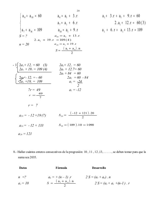 20   a 4 + a 10 = 60    a + a = 109  7 14 S=? 2 . a1  a 4 = a1 + 3 . r  a 1 + 3 . r + a 1 + 9 . r = 60  a 7 = a1 + 6 ...