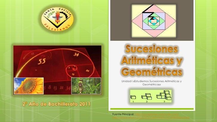 Sucesiones Aritméticas y Geométricas   <br />Unidad I «Estudiemos Sucesiones Aritméticas y Geométricas»<br />2º Año de Bac...