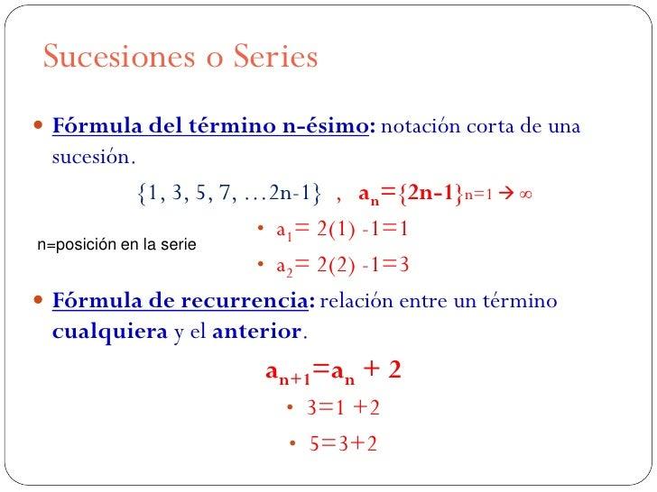 Sucesiones o Series Fórmula del término n-ésimo: notación corta de una  sucesión.             {1, 3, 5, 7, …2n-1} , an={2...