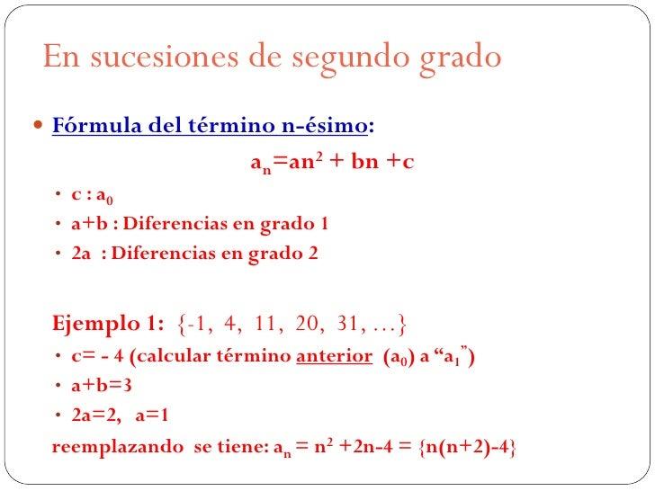 En sucesiones de segundo grado Fórmula del término n-ésimo:                        an=an2 + bn +c  • c : a0  • a+b : Dife...