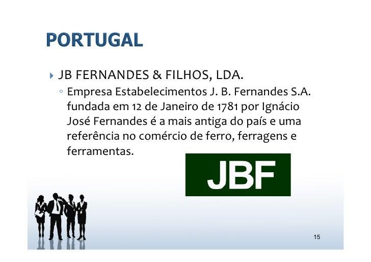 } JB FERNANDES & FILHOS, LDA.   ◦ Empresa Estabelecimentos J. B. Fernandes S.A.      fundada em...