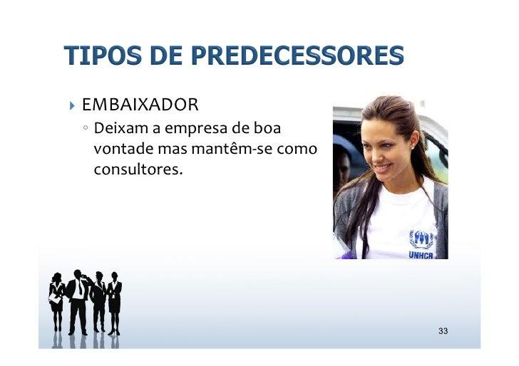 } EMBAIXADOR  ◦ Deixam a empresa de boa     vontade mas mantêm-‐se como     consultores.        ...
