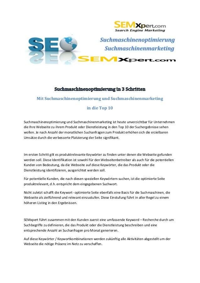 Mit Suchmaschinenoptimierung und Suchmaschinenmarketing                                          in die Top 10Suchmaschine...