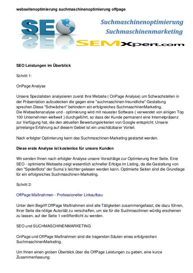 webseitenoptimierung suchmaschinenoptimierung offpageSEO Leistungen im ÜberblickSchritt 1:OnPage AnalyseUnsere Spezialiste...