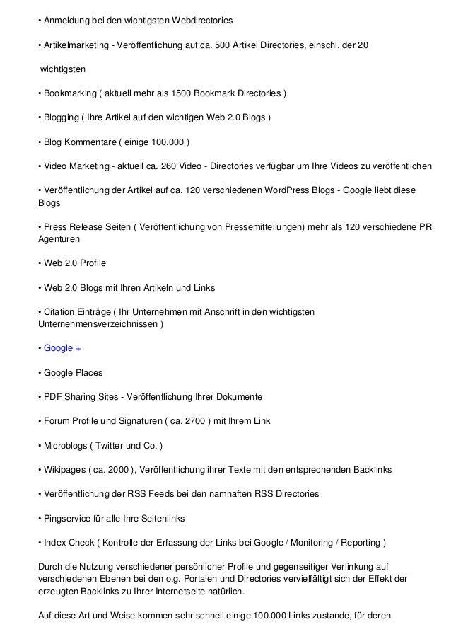 • Anmeldung bei den wichtigsten Webdirectories• Artikelmarketing - Veröffentlichung auf ca. 500 Artikel Directories, einsc...