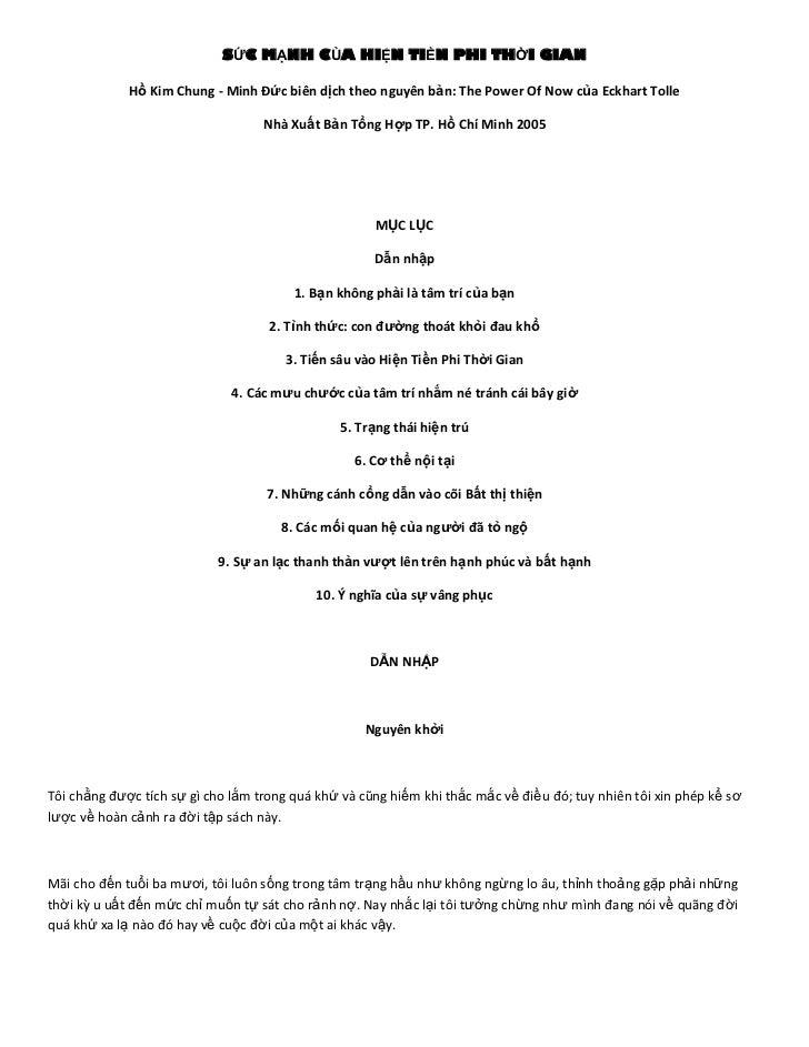 SỨC MẠNH CỦA HIỆN TIỀN PHI THỜI GIAN             Hồ Kim Chung - Minh Đức biên dịch theo nguyên bản: The Power Of Now của E...