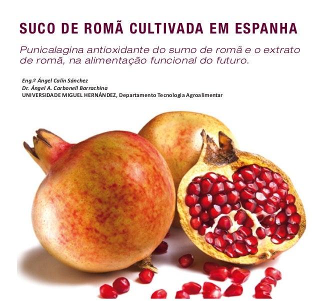 SUCO DE ROMÃ CULTIVADA EM ESPANHA Punicalagina antioxidante do sumo de romã e o extrato de romã, na alimentação funcional ...