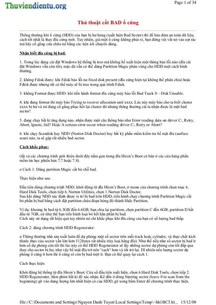 Page 1 of 34                                   Thủ thuật cắt BAD ổ cứngThông thường khi ổ cứng (HDD) của bạn bị hư hỏng (x...
