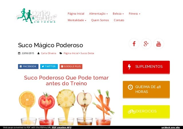 Página Inicial Alimentação Beleza Fitness Mentalidade Quem Somos Contato Suco Mágico Poderoso  22/06/2015  Carla Oliveir...