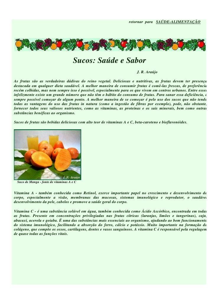 retornar para SAÚDE-ALIMENTAÇÃO                                            Sucos: Saúde e Sabor                           ...