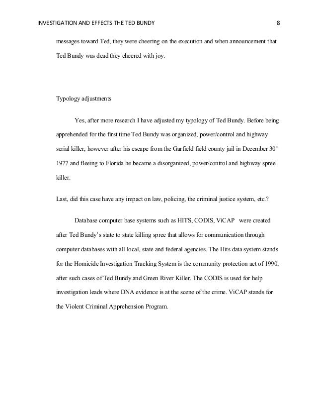 ted bundys killing spree essay 24082016 what ted bundy's mom taught me about  although his killing spree included my  but that 5,000-word essay allowed me a glimpse inside the.
