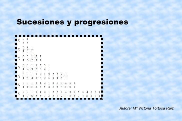 Sucesiones y progresiones Autora: Mª Victoria Tortosa Ruiz