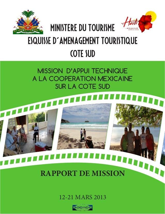 MINISTERE DU TOURISMEESQUISSE D´AMENAGEMENT TOURISTIQUE             COTE SUD  MISSION D'APPUI TECHNIQUE A LA COOPERATION M...